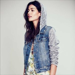 FREE PEOPLE Distressed Terry Hooded Jeans Jacket S